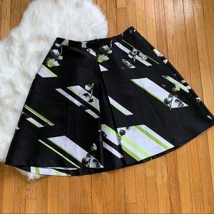 Lane Bryant Pleated Black Floral Stripe Skirt